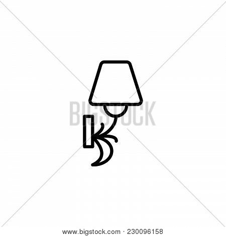 Web Line Icon. Wall Light, Sconce Black On White Background