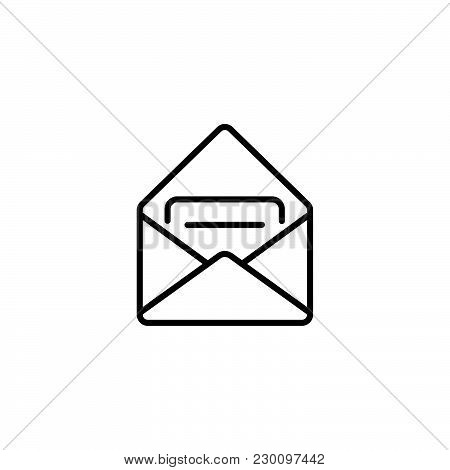 Web Line Icon. Received Message Black On White Background