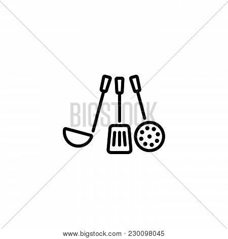 Web Line Icon. Ladle, Skimmer Black On White Background