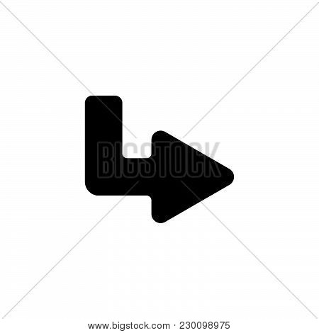 Web Line Icon. Arrow Up - Right Black On White Background