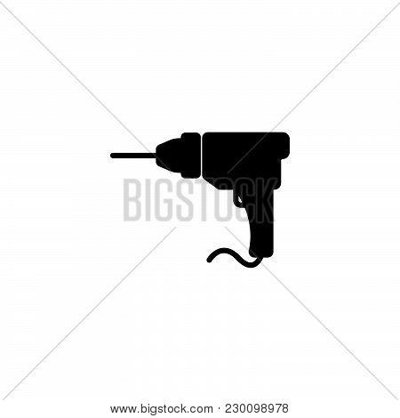 Web Line Icon. Drill Black On White Background