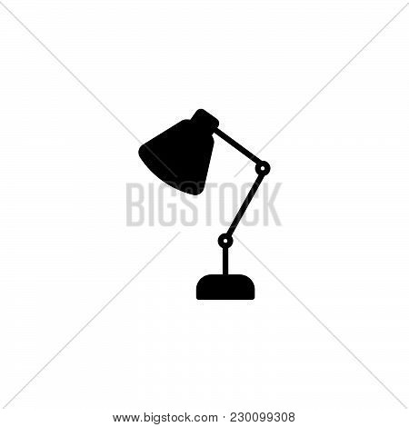 Web Line Icon. Table Lamp, Sconce Black On White Background