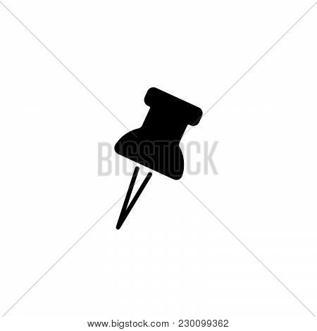 Web Line Icon. Drawing Pin Black On White Background