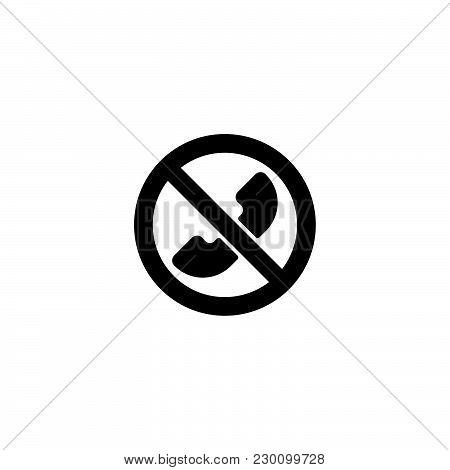 Web Icon. Calls Banned, Forbidden Call Black On White Background