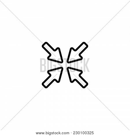 Web Line Icon. Overlapping Arrow Black On White Background