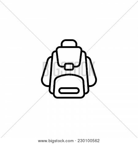 Web Line Icon. Knapsack Black On White Background