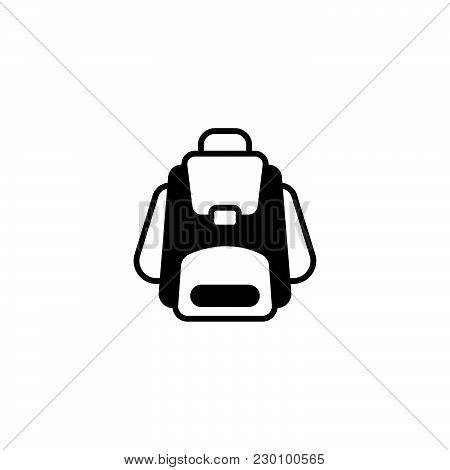 Web Icon. Knapsack Black On White Background