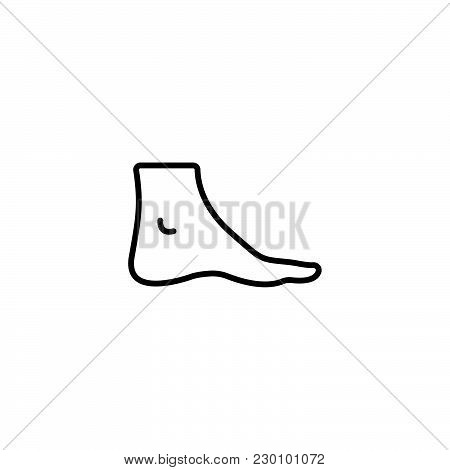 Web Line Icon. Foot, Foot Standing Black On White Background