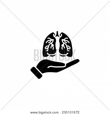 Web Icon. Lungs In Hand Black On White Background