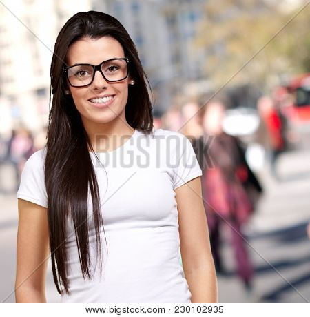 Portrait Of A Young Girl Wearing Specs, Outdoor
