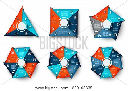 Vector Triangle, Square, Pentagon, Hexagon, Heptagon And Octagon Infographic. Business Diagrams With