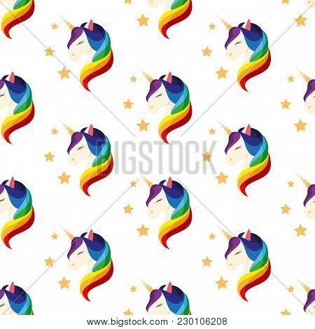 Unicorn With Closed Eyes. Rainbow Mane. Vector Illustration On White Background. Seamless Pattern. F