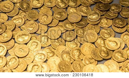 Roman Gold Coins. Full Frame Abstract Background Texture Of An Old Roman Gold Coin Hoard.