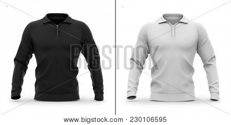 Men's zip neck pullover with raglan sleeves, rubber cuffs and collar. Front view. 3d rendering. Clipping paths included: whole object, collar, sleeve, zipper. Highlights and shadows mock-up template.