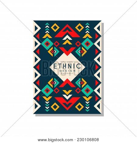 Ethnic Design Abstrat, Colorful Ethno Tribal Geometric Ornament, Trendy Pattern Element For Business