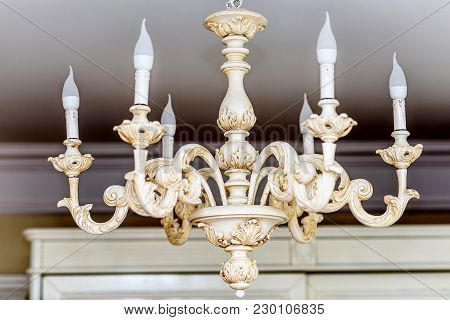 Rich Baroque Classic Chandelier Close Up. Luxury Decor Accessory Design