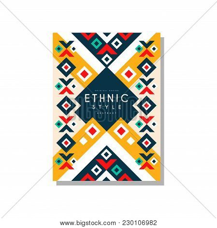 Ethnic Style Abstract Design Template, Ethno Tribal Geometric Ornament, Trendy Pattern Element For B