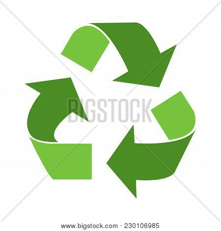 Green Triangular Eco Recycle Icons - Vector Illustration