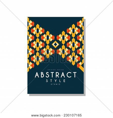 Abstrat Style Ethnic Design Temlate, Colorful Ethno Tribal Geometric Ornament, Trendy Pattern Elemen