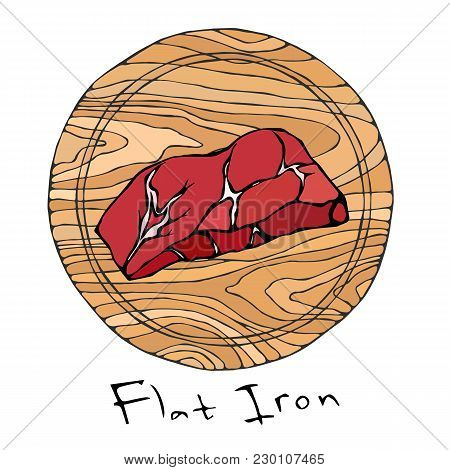 Most Popular Steak Flat Iron On A Round Wooden Cutting Board. Beef Cut. Meat Guide For Butcher Shop