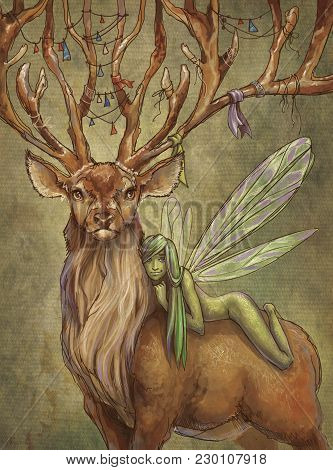 Green Fairy Sits On A Back Of Deer