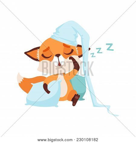 Cute Fox Character Wearing Hat Sleeping On A Pillow, Funny Forest Animal Vector Illustration Isolate