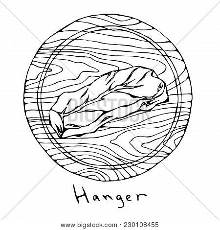Most Popular Steak Hanger On A Round Wooden Cutting Board. Beef Cut. Meat Guide For Butcher Shop Or