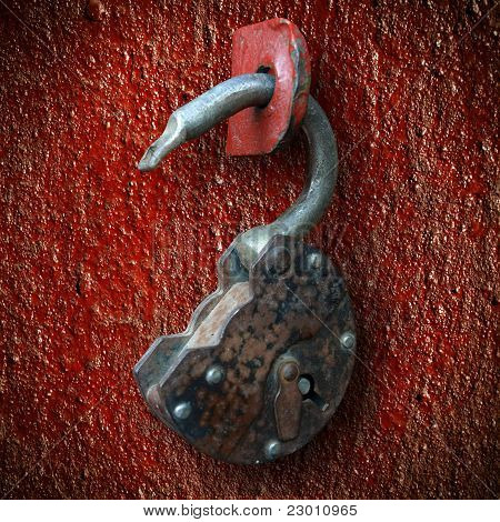 Old, Rusty Hinged Lock