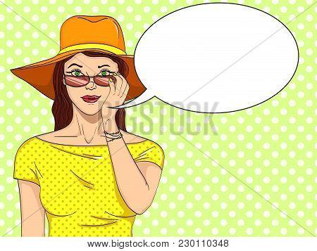 Woman Looks Through Sunglasses Pop Art Retro Vector Illustration. Comic Book Style Imitation. Text B