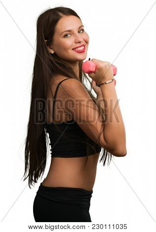 Beautiful Young  Woman Exercising On White Background
