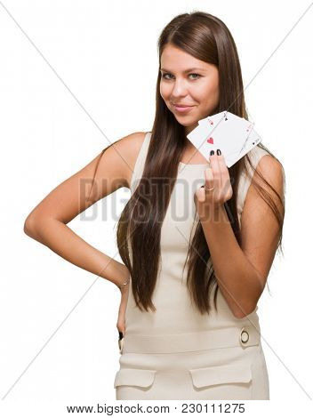 Young Woman Holding Playing Cards On White Background