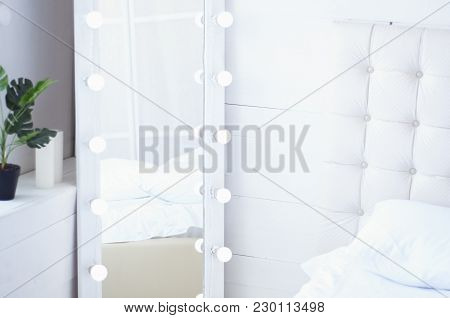 Interior With Bed Spread Out Light Retro With Mirror With Illumination