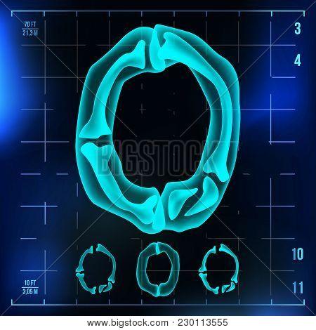 0 Number Vector. Zero Roentgen X-ray Font Light Sign. Medical Radiology Neon Scan Effect. Alphabet.