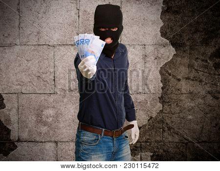 Burglar In Face Mask, Indoor