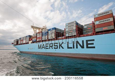 Gdansk, Poland - August 21, 2013: Maersk Mc-kinney Moller Triple E-class, Former Worlds Largest Cont
