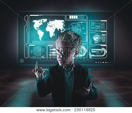 Scientist Explain His Theory In The Lab Against The Office With A Lot Of High Tech Touch Screens