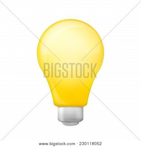 Bright Yellow Light Bulb Isolated On A White Background