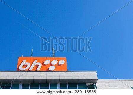 Sarajevo, Bosnia - February 16, 2018: Bh Telecom Logo On A Sign On Their Headquarters In Sarajevo. B