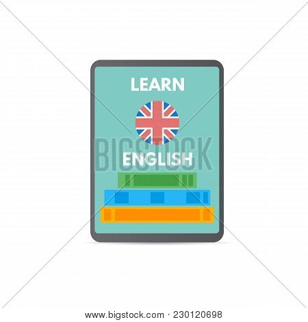 English Online Mobile Learn Concept, Learning App. Vector Illustration