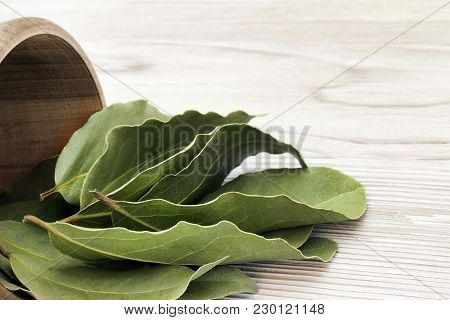Antioxidant Kitchen Herbs. Spices Of Bay Leaf In Rural Style. Dried Aromatic Bay Leaves In A Wooden