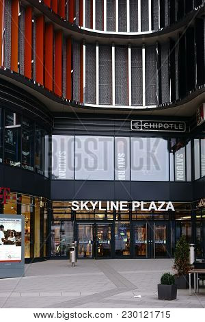 Frankfurt, Germany - March 02: The Modern Facade And The Entrance To The Skyline Plaza Shopping Cent