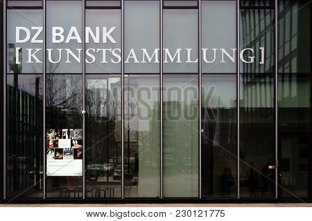 Frankfurt, Germany - March 02: The Modern Glass Facade Of The Dz Bank Art Collection One Exhibition
