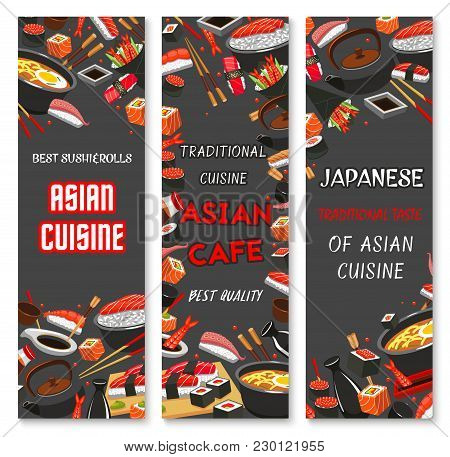 Japanese Sushi Bar Or Asian Restaurant Banners Design For Menu. Vector Chopsticks For Sushi, Sashimi