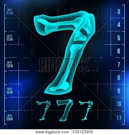 7 Number Vector. Seven Roentgen X-ray Font Light Sign. Medical Radiology Neon Scan Effect. Alphabet.