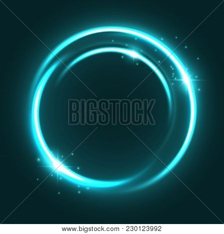Neon Light Circle With Shine Sparkles And Glittering Glow With Particles Sparks. Vector Magic Green