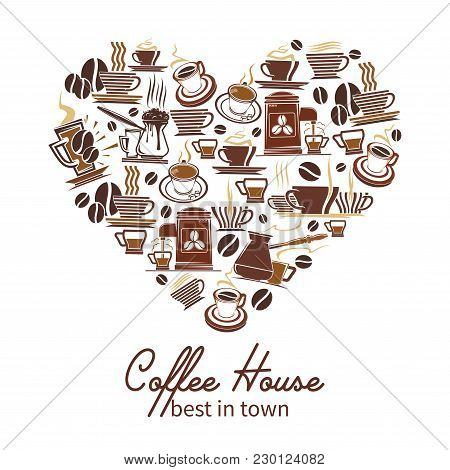 Coffeehouse Heart Poster Of Coffee Cups, Maker And Grinders Icons For Cafeteria, Of Cafe Design Temp