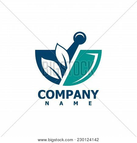 Pharmacy Medical Logo, Natural Mortar And Pestle Logotype, Medicine Herbal Illustration Symbol Icon