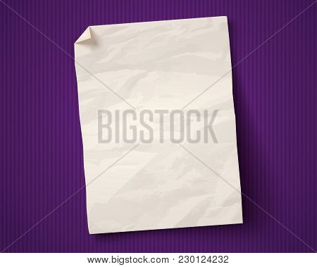 Vector Vintage White Paper On Ultraviolet Background. White Paper Ad On Old Paper Background.