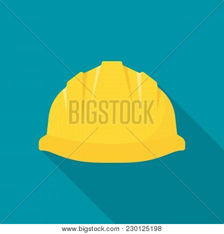 Construction Helmet. Yellow Safety Hat. Plastic Headwear. Vector Illustration Flat Design. Isolated