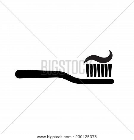Toothbrush With Toothpaste Silhouette. Simple Pictogram Isolated On Background. Dental Care Concept.